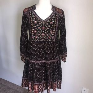 Style & co PM boho FP dress bead embroidered babyd